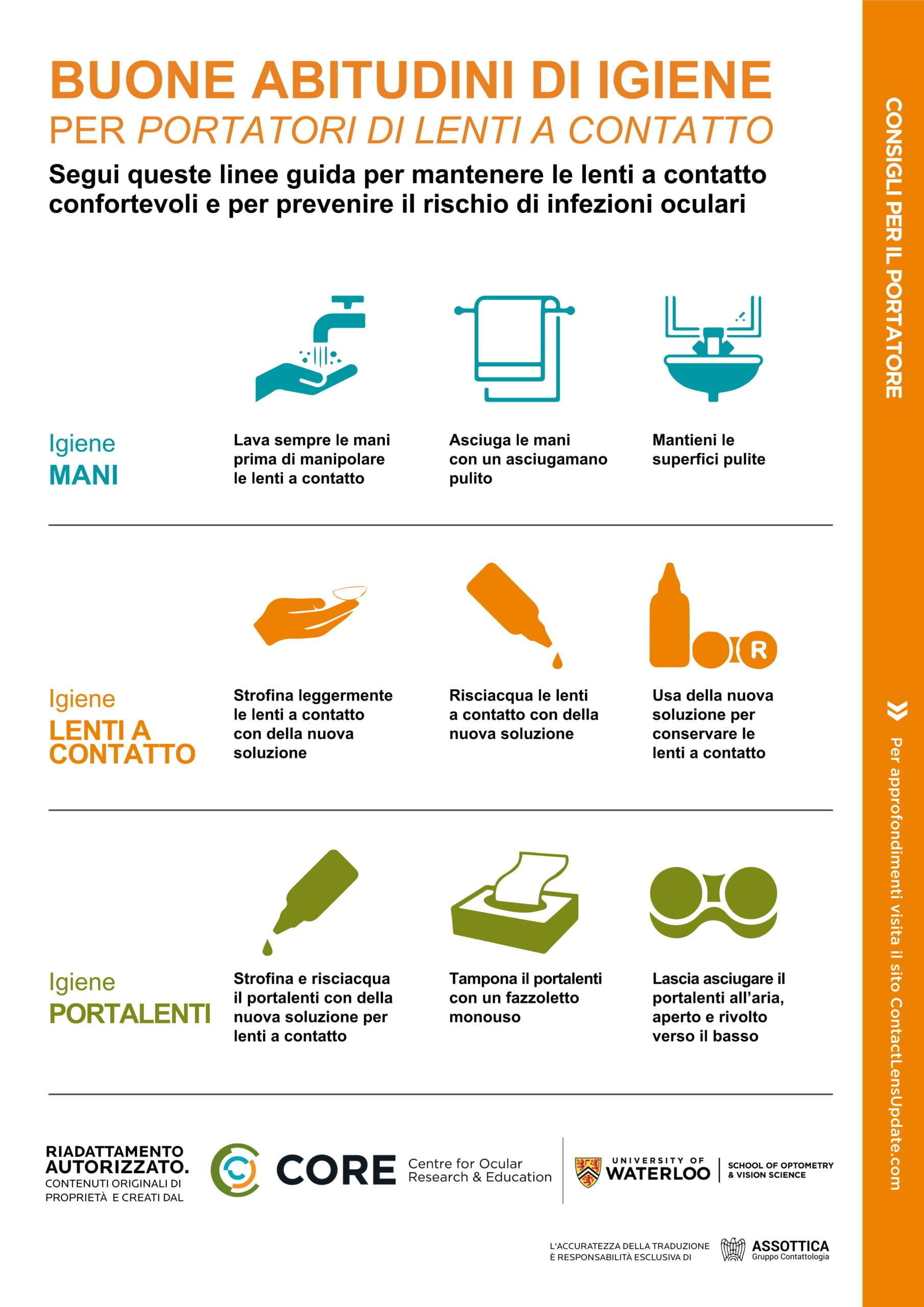 Consigli sull'igiene per il portatore di lenti a contatto